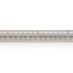KELine, 10G patch panel MODULO 24xRJ45 HD Cat.6A ISO STP 1U černý - beznástrojový stříbrný